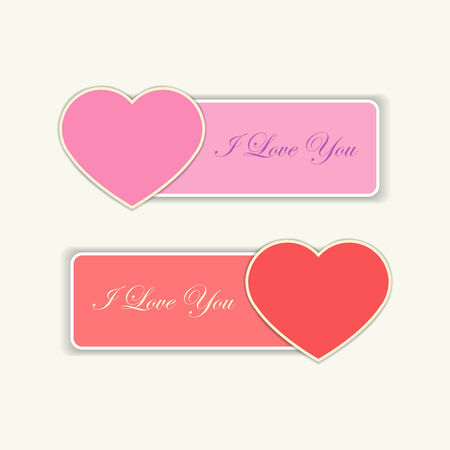 affair: Red and pink love labels with hearts and  I love you text