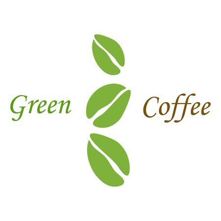 frijol: Tres granos de caf� verde en el fondo blanco