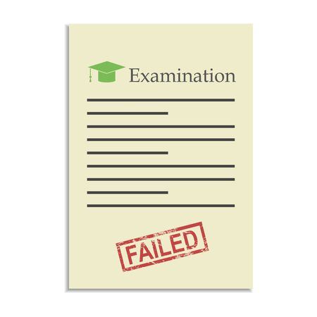 failed: Examination paper with failed stamp. Exams in school, college and university Illustration