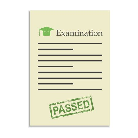 passed stamp: Examination paper with passed stamp. Exams in school, college and university Illustration