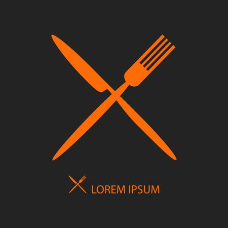 fork knife: Crossed orange knife and fork on black as logo of cafe or restaurant Illustration
