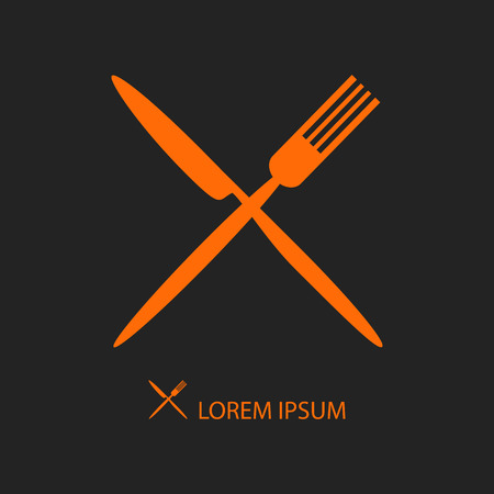 Crossed orange knife and fork on black as logo of cafe or restaurant Illustration