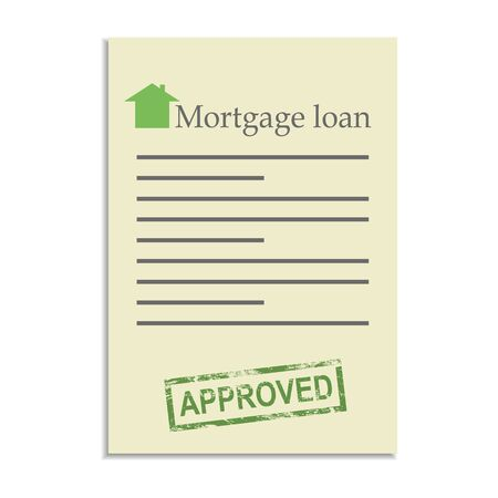 approved stamp: Documento de pr�stamo hipotecario con el sello de aprobado. Conseguir un cr�dito bancario Vectores