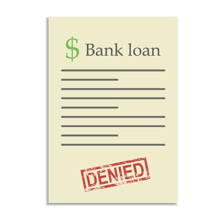 denied: Documento de pr�stamo del Banco con el sello negado. Rechazo en conseguir un cr�dito bancario Vectores