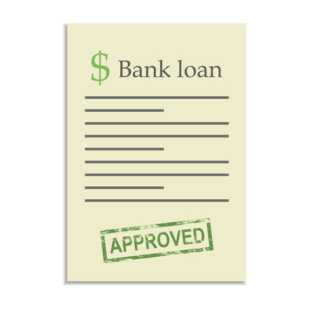 approved stamp: Documento de pr�stamo del Banco con el sello de aprobado. Conseguir un cr�dito bancario