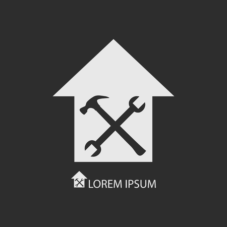 White house repair or building icon on dark grey. House with crossed spanner and hammer