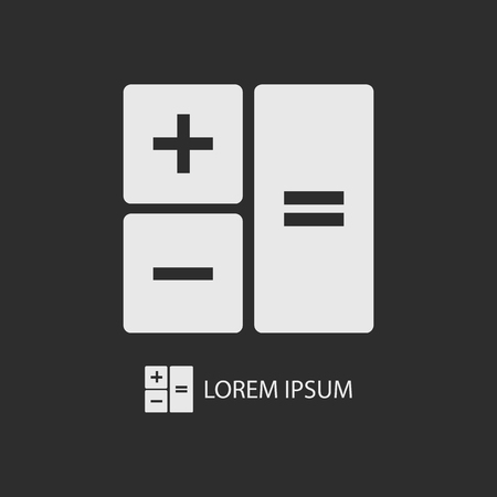copyspace: White calculator as icon with copyspace on dark grey background