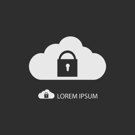 copyspace: White cloud with lock as logo with copyspace on dark grey background