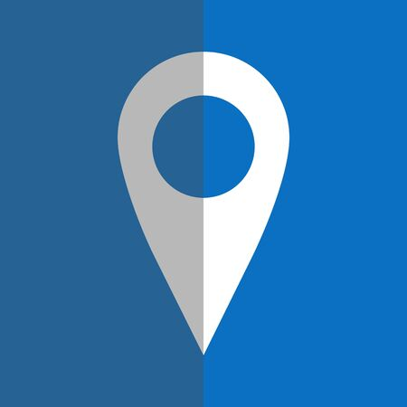 geolocation: White geo pin on blue background in flat style. Geolocation and navigation Illustration