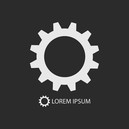 tooling: White gearwheel as logo with copyspace on dark grey background