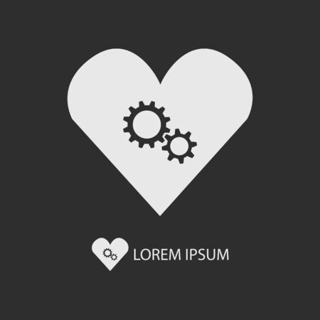 heart gear: White heart with gear wheels as logo with copy space on dark grey background