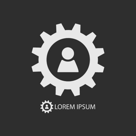 White gear wheel with person sign as logo with copy space ondark grey background. Account settings Illustration