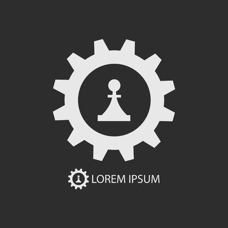 tooling: White gear wheel and piece as logo with copy space on dark grey background Illustration