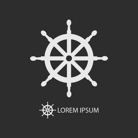 dockyard: White helm as logo with copyspace on dark grey background