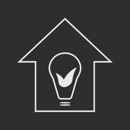 Eco house with bulb and leaves.  White on dark grey  background illustration Vector