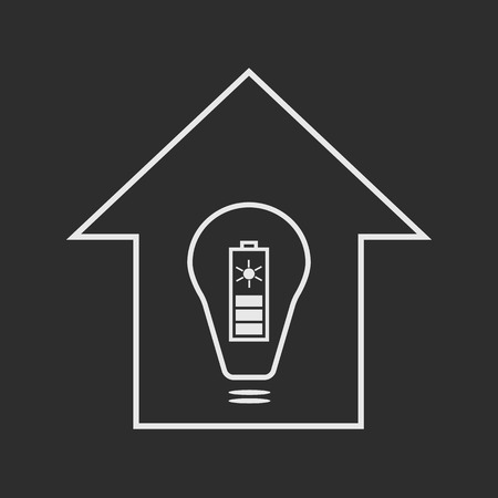 solar battery: Eco house with solar battery as energy source. White on dark grey background illustration Illustration