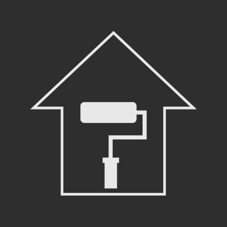 remount: Simple white house with paddle roller on dark grey background. Repair symbol Illustration