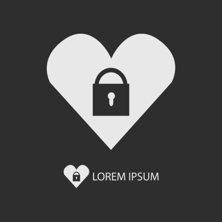 secret love: White heart with lock as logo with copyspace on dark grey background