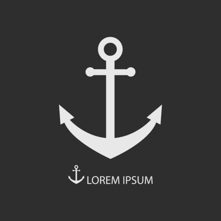 dockyard: White anchor as logo with copyspace on dark grey background Illustration