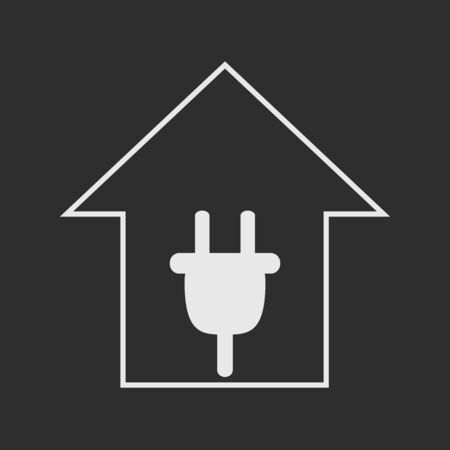 remount: Simple white house with plug dark grey background. Electricity symbol Illustration