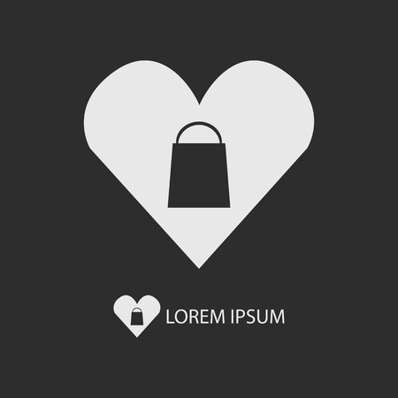 White I love shopping logo with copy space on dark grey background