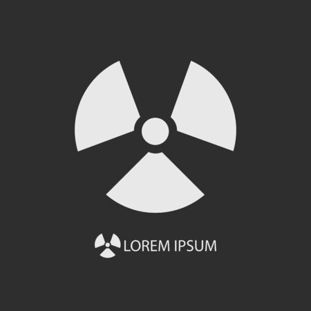 radiation sign: White radiation sign as logo on dark grey background with copyspace