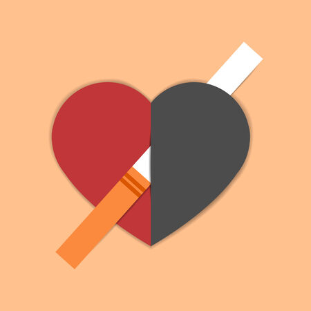 pierced: Unhealthy heart pierced with cigarette. Heart disease caused with smoking Illustration