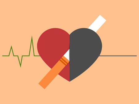 Heart disease and death caused with smoking. Cardiogram changing to straight line Illustration