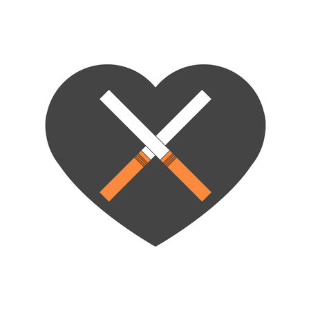 crossed cigarette: Grey unhealthy heart with crossed cigarettes. Death caused with smoking