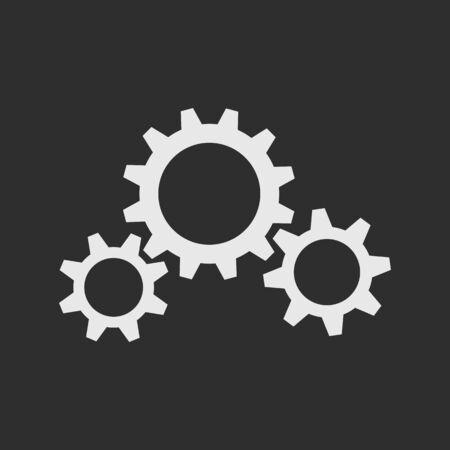 tooling: Three white gear wheels on dark grey background