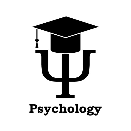 research education: Psychology learning. Black Psi letter with graduation hat on white