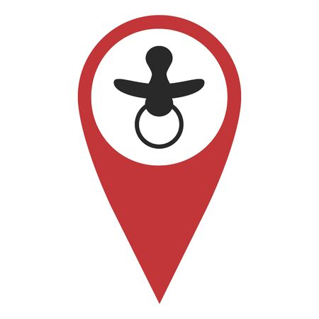 geolocation: Red geo pin with nipple on white. Geolocation and navigation Illustration