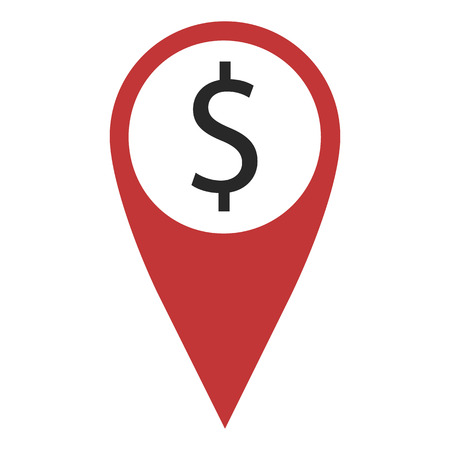 geolocation: Red geo pin with dollar on white. Bank icon, geolocation and navigation