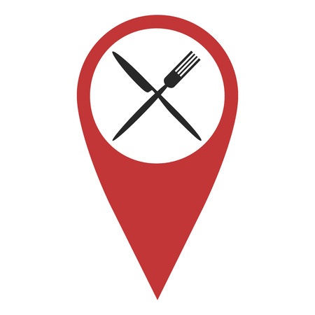 geolocation: Red geo pin  with fork and knife on white. Cafe or restaurant sign, geolocation and navigation Illustration