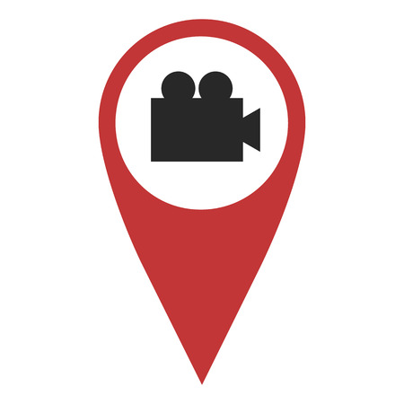 geolocation: Red geo pin with video camera on white. Cinema sign, geolocation and navigation