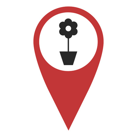 geolocation: Red geo pin with flower on white. Flower shop, sign, geolocation and navigation