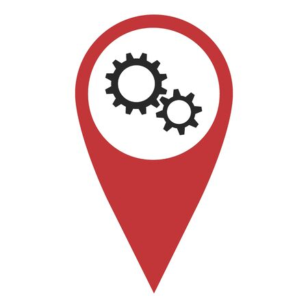 geolocation: Red geo pin with gear wheels on white. Maintenance sign, geolocation and navigation Illustration