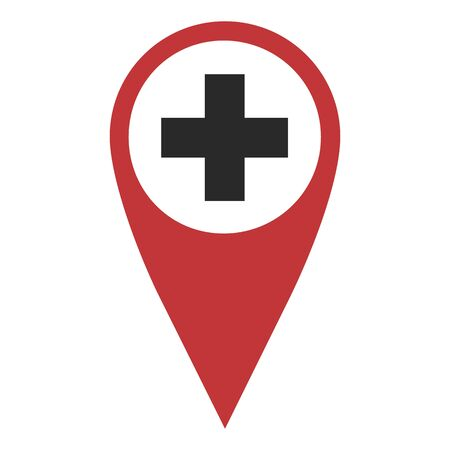 geolocation: Red geo pin with cross on white. Hospital or drugstore sign,  Geolocation and navigation