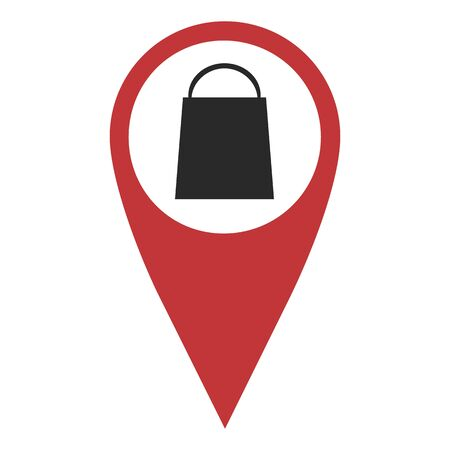 geolocation: Red geo pin with shopping bag on white. Geolocation and navigation Illustration