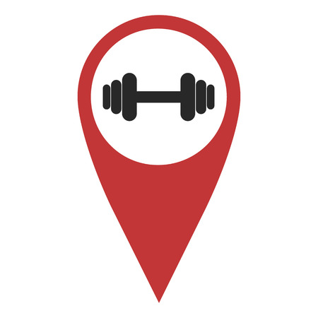 geolocation: Red geo pin with dumbbell on white. Sport club signs, geolocation and navigation Illustration