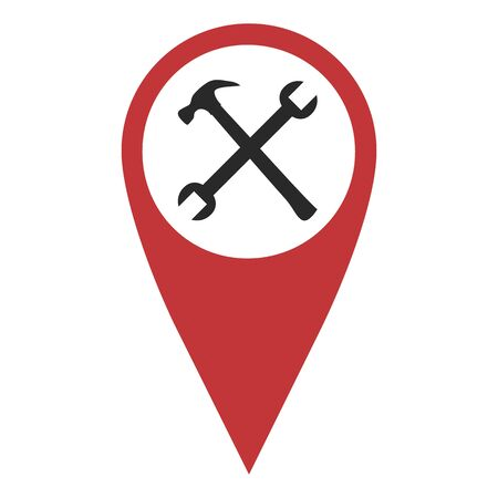 geolocation: Red geo pin with crossed tools on white. Geolocation and navigation