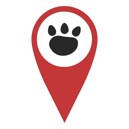 geolocation: Red geo pin with paw on white. Zoo shop sign, geolocation and navigation