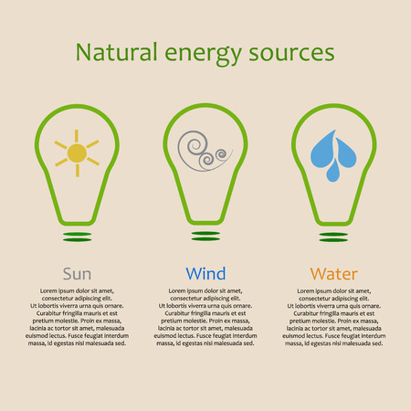 alternative energy sources: Infographics of alternative energy sources. Solar, wind and water power signs with copy space Illustration