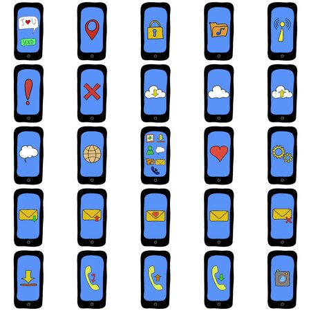 Set of doodle cartoon style smart phones with different functions Vector
