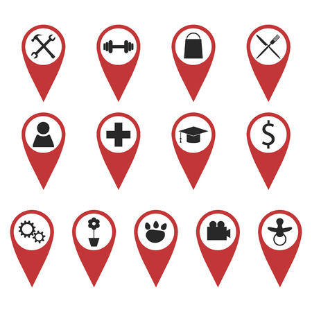 Set of redgeo pins with black signs showing different places Vector