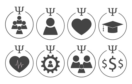 pedagogical: Set of psychology symbols in grey colors. Different subdisciplines icons Illustration