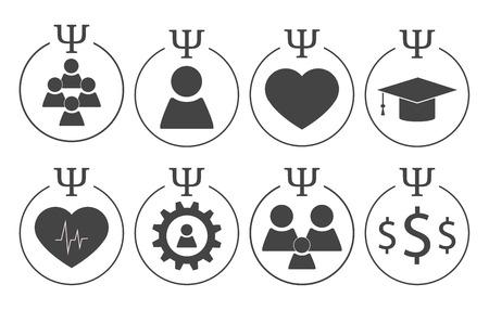 Set of psychology symbols in grey colors. Different subdisciplines icons Stock Illustratie