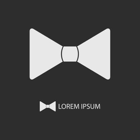 festal: White bowtie as logo on black. Formal and festal clothing Illustration