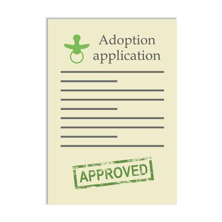 approved stamp: Solicitud de adopci�n con el sello de aprobado. Documento sobre fondo blanco