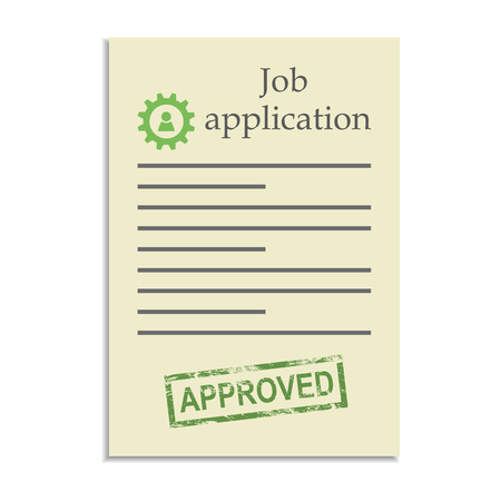 approved stamp: Job application with approved stamp. Getting a a work